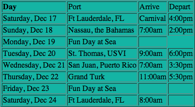 Carnival route